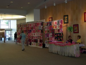 The QuiltFest lobby greeted all comers with this year's challenge blocks.